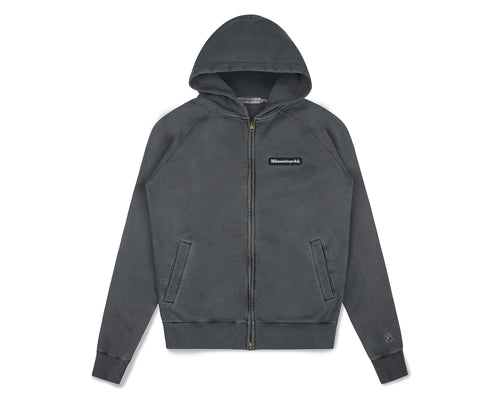 WAFFLE LINED ZIP THROUGH HOOD - BLACK