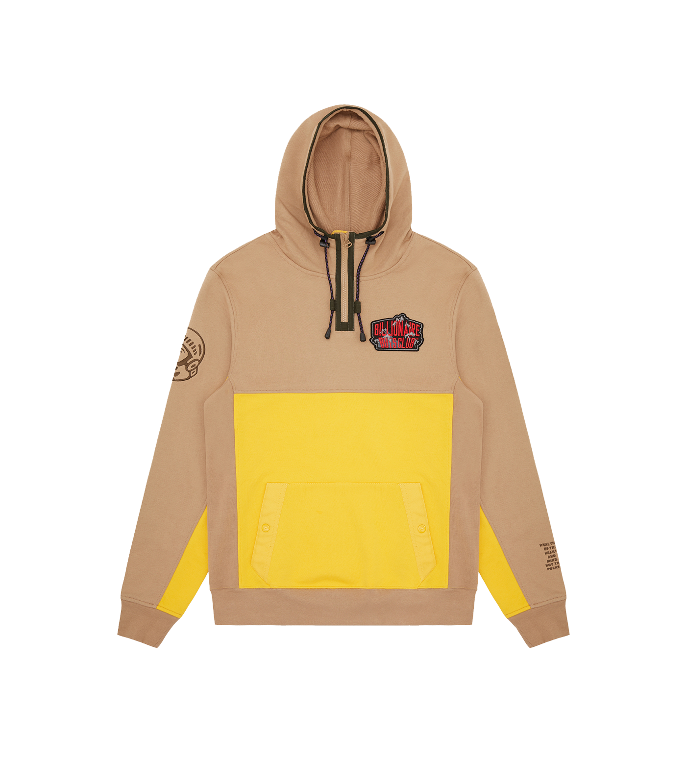 COLOUR BLOCK POPOVER HOOD - BEIGE