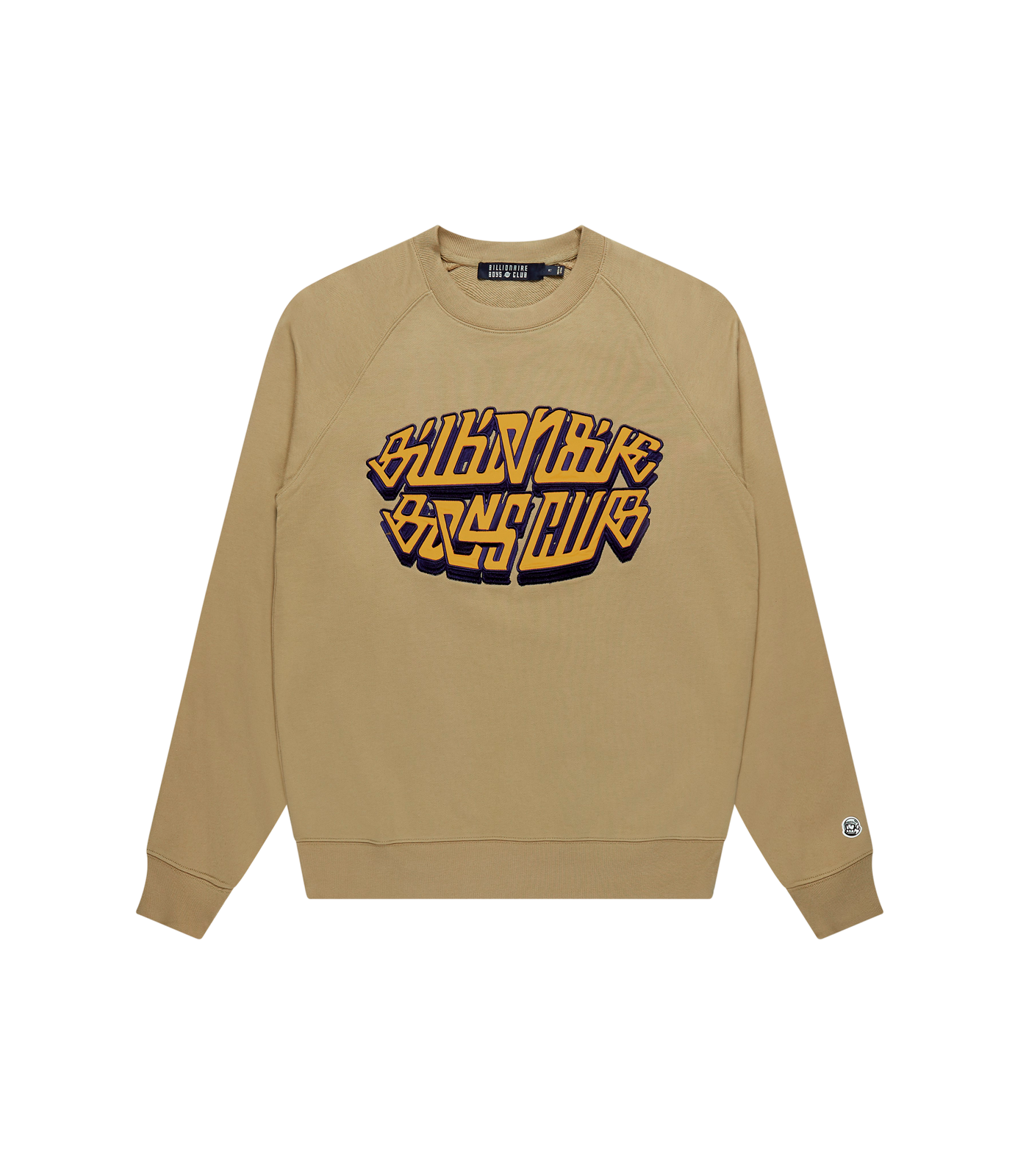 SATIN APPLIQUE LOGO CREWNECK - BEIGE