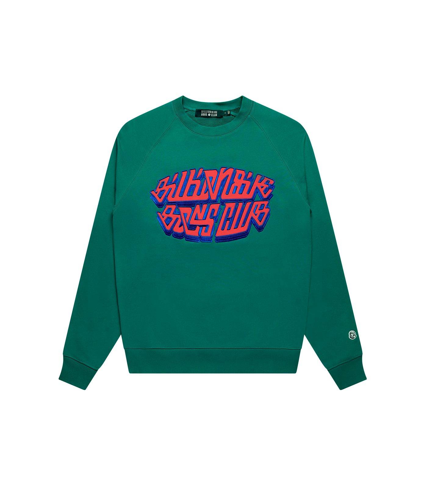 SATIN APPLIQUE LOGO CREWNECK - LAKE BLUE