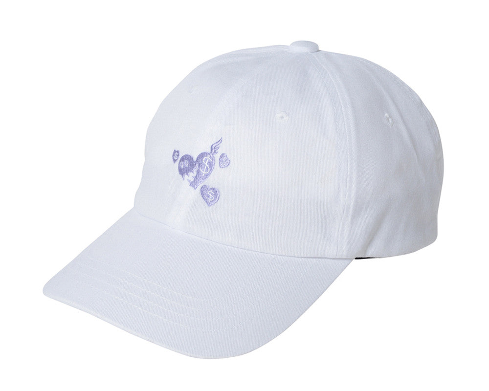 Billionaire Girls Club BGC HEART CHASER STRAPBACK CAP - WHITE
