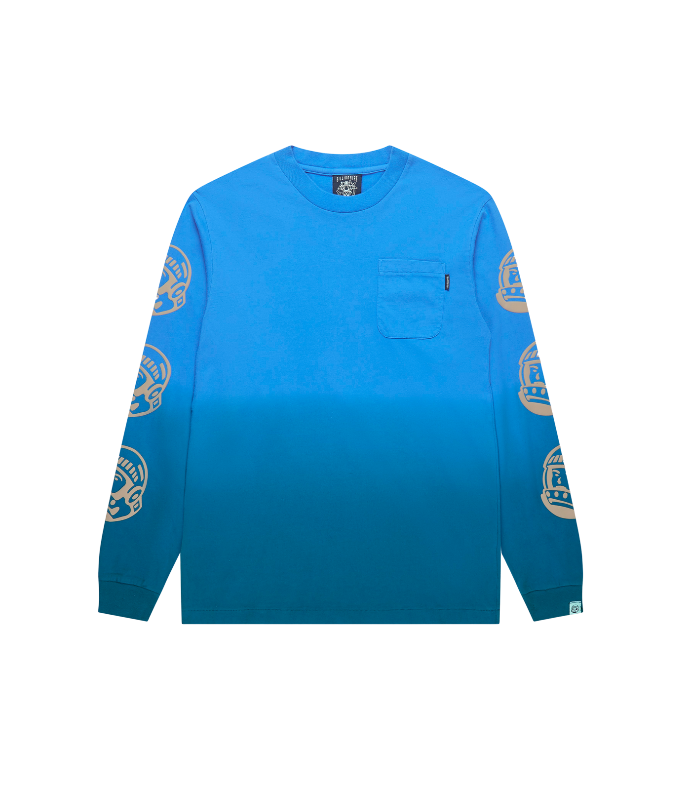 DIP DYE EFFECT L/S T-SHIRT - BLUE/TEAL
