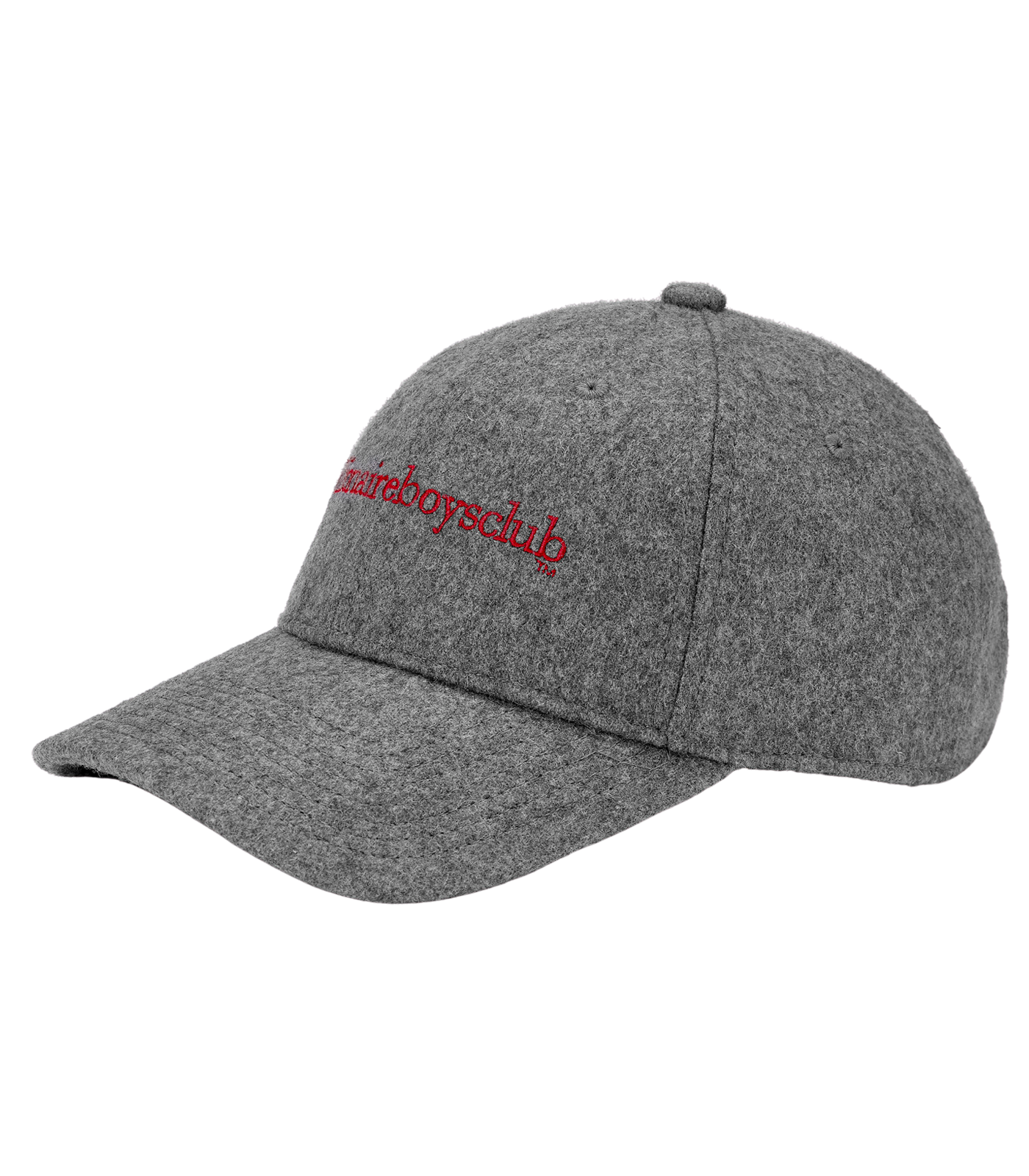EMBROIDERED WOOL CURVED VISOR CAP - GREY