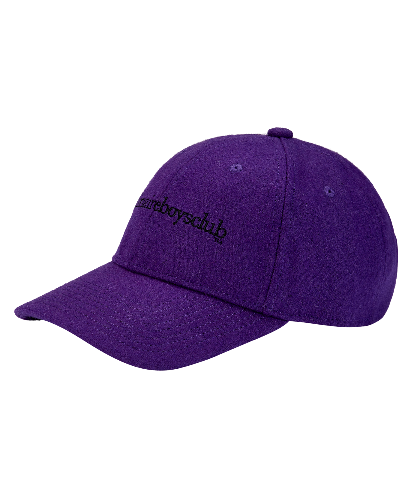 EMBROIDERED WOOL CURVED VISOR CAP - PURPLE
