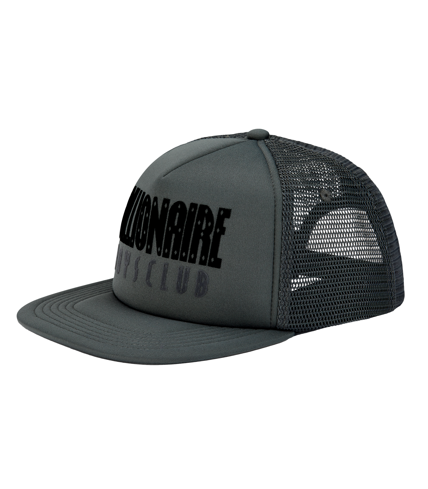 STRAIGHT LOGO TRUCKER CAP - BLACK