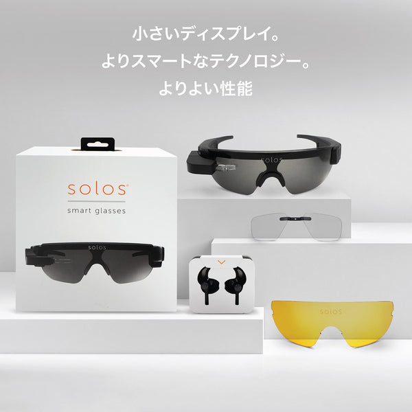 smart glasses ,box with ear phones and different lense on display