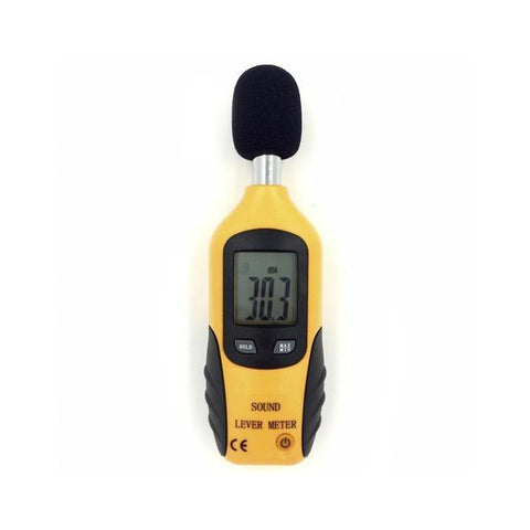 Digital LCD Sound Level Meter, Yellow Device, Front View