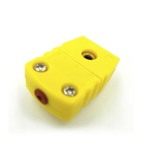 K-Type Female Flat Connector, Yellow Device, Tilt View
