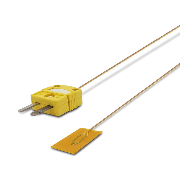 Surface Contact 0.25 mm diameter K-Type Sensor Probe with Sticker for K-Type Thermocouple, Yellow Cable, Flat View
