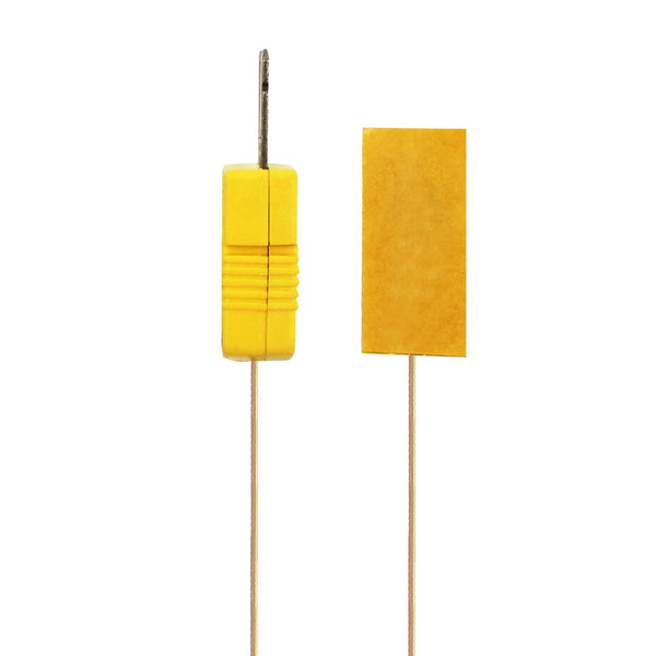 Surface Contact 0.25 mm diameter K-Type Sensor Probe with Sticker for K-Type Thermocouple, Yellow Cable, Side