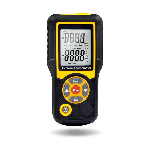Precise Sensitive Hotwire Thermal Anemometer Probe, black and yellow Device, Front View