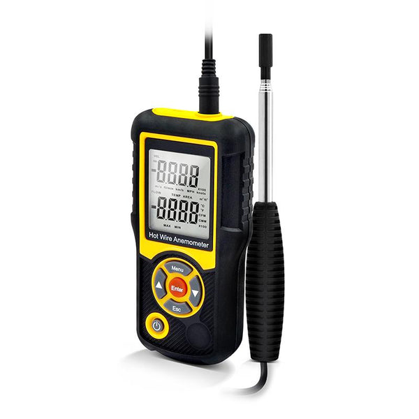 Precise Sensitive Hotwire Thermal Anemometer Probe, black and yellow Device, side view with wire