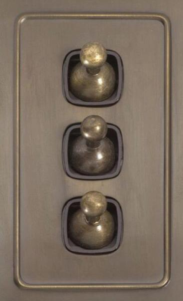 Light Switch - Touch - Prime Pattern Crystal Glass, Brown Button, Vintage Front View