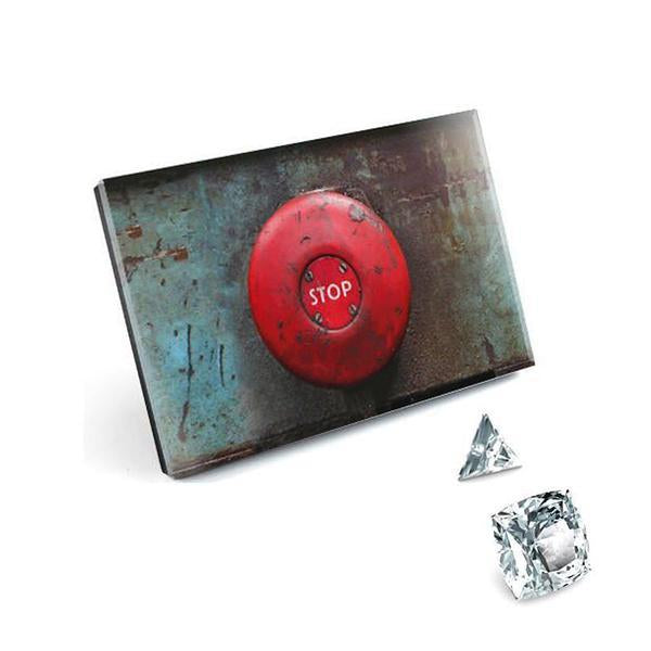 Light Switch - Touch - Prime Pattern Crystal Glass, Red Button, Stop Tilt View