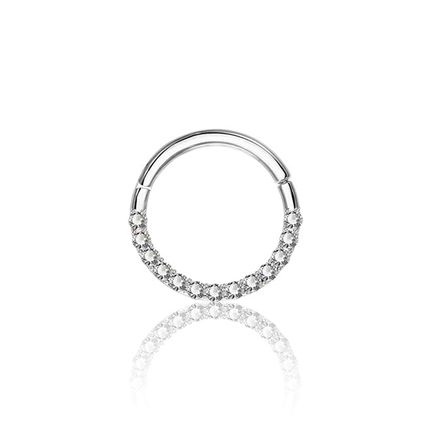 14k White Gold Pavé Side Facing Ring