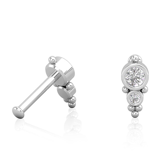 18kt White Gold Diamond Toi et Moi Earring Wholesale Piercing Jewellery UK