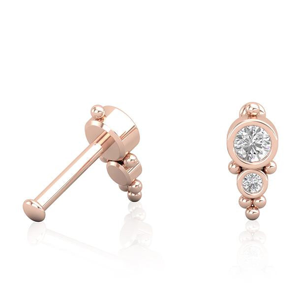 18kt Rose Gold & Diamond Toi et Moi Cartilage Piercing Jewellery Maria Tash Alternative