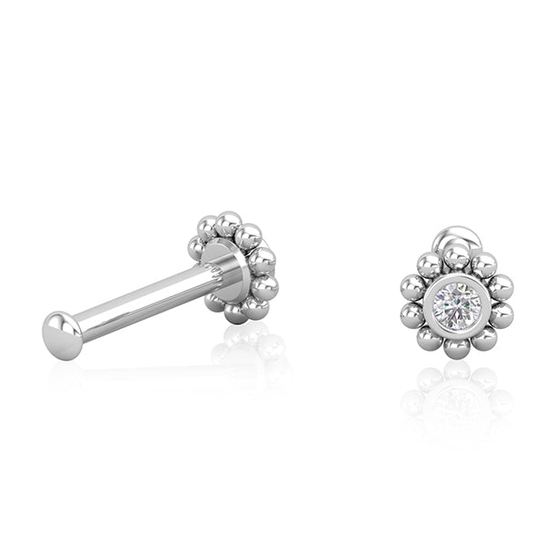 18kt White Gold Diamond Flower Earring Wholesale Piercing Jewellery UK