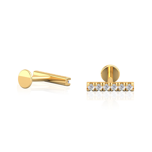 14kt Diamante Gold Bar Earring Wholesale Piercing Jewellery UK
