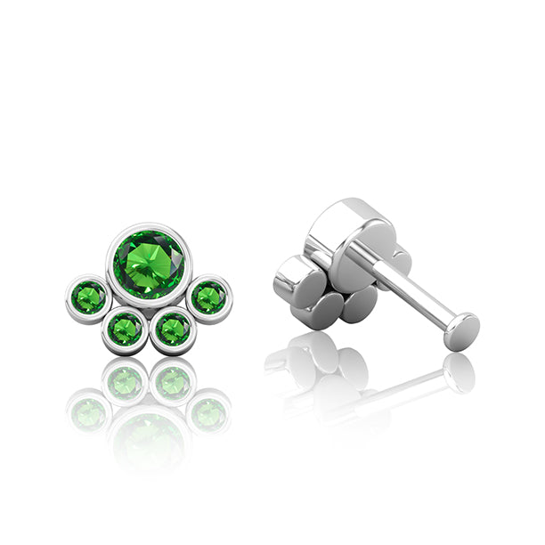 Emerald Green Titanium Paw Print Cartilage Piercing Jewellery
