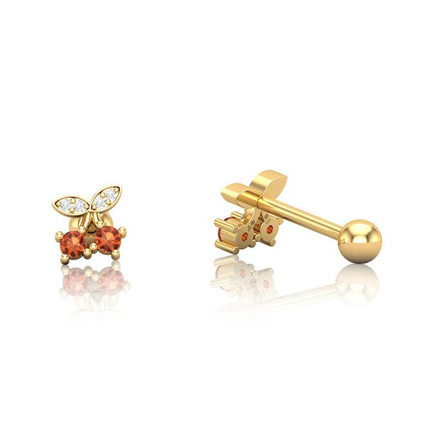 Gold SS Cherrys Cartilage Barbell