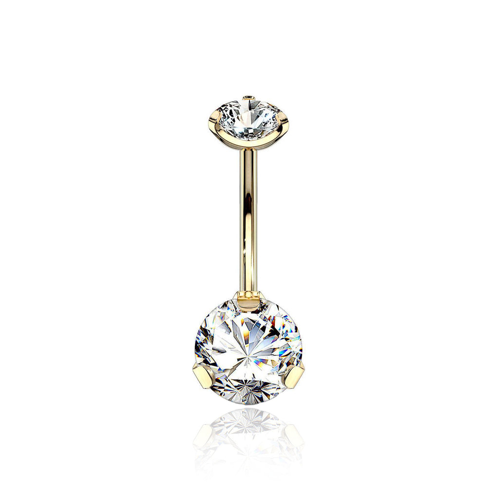 Gold SS Claw Set Solitaire Navel Bar