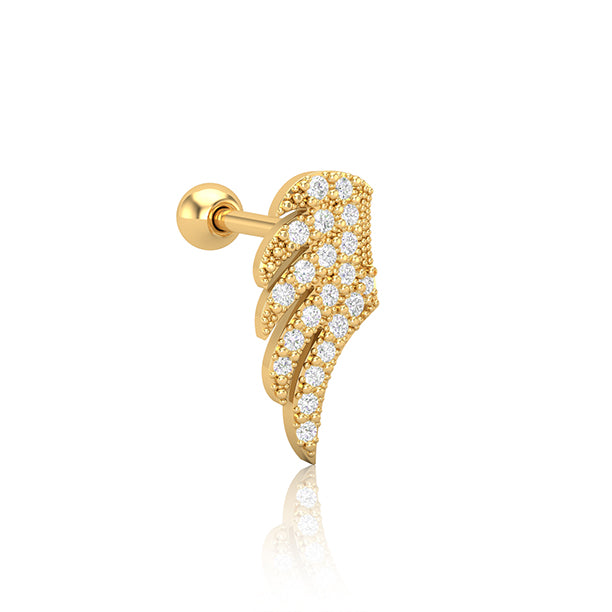 Gold SS Diamante Angel Wing Cartilage Barbell