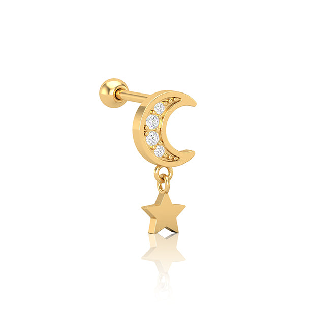 Gold SS Diamante Moon & Star Drop Cartilage Bar