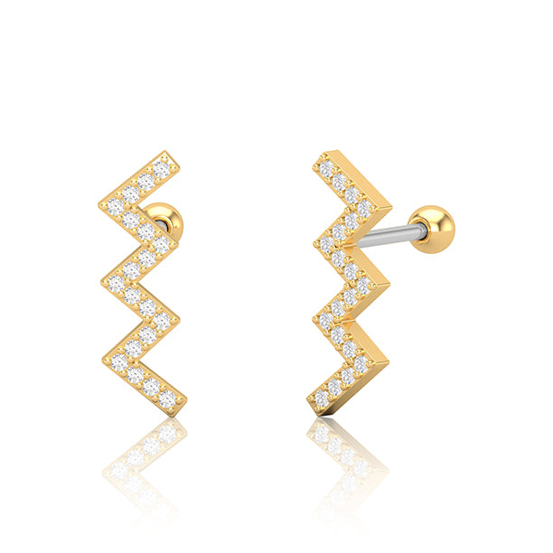 Gold SS Diamante Zig Zag Cartilage Bar