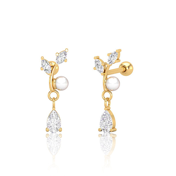 Gold SS Diamante & Pearl Branch with Solitaire Drop Cartilage Barbell