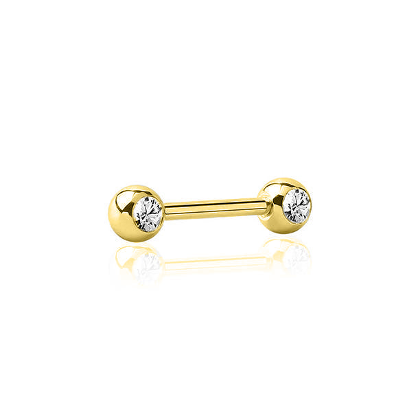 Gold Ti Solitaire Nipple Barbell
