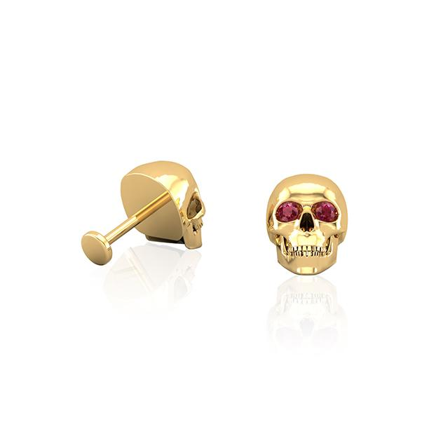 Koopers® Skull 18kt Yellow Gold & Ruby Wholesale Piercing Jewellery UK