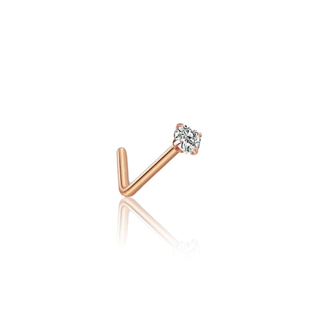 Rose Gold SS Claw Set Solitaire Zircon Nose Stud L-Shape