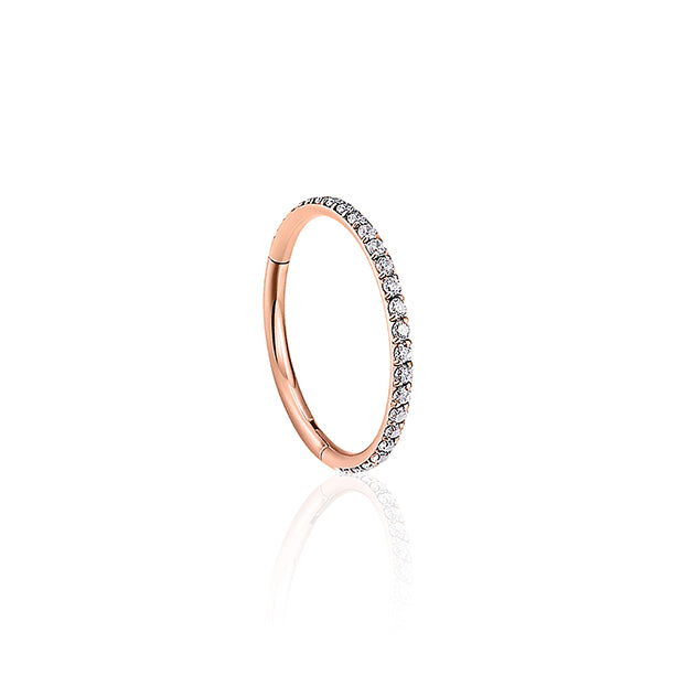Rose Gold Titanium Diamante Hinged Huggie Ring Wholesale Piercing Jewellery UK