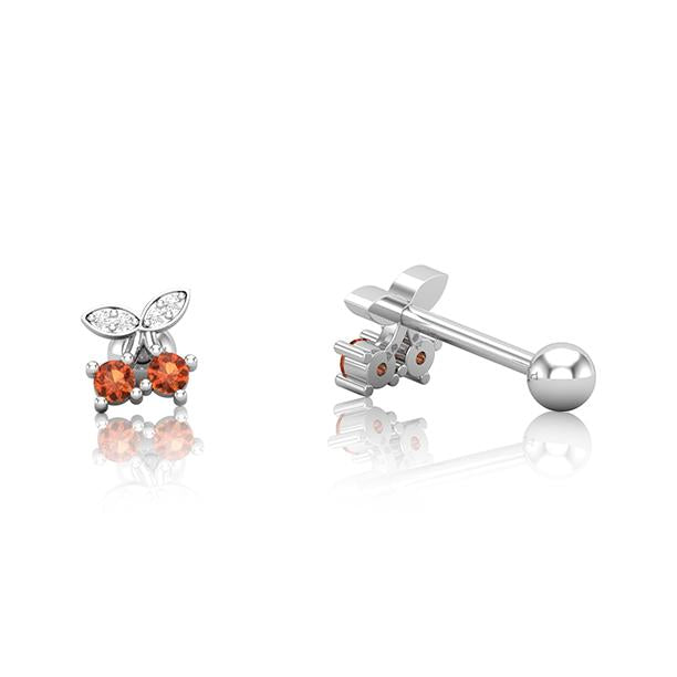 Silver SS Cherrys Cartilage Barbell