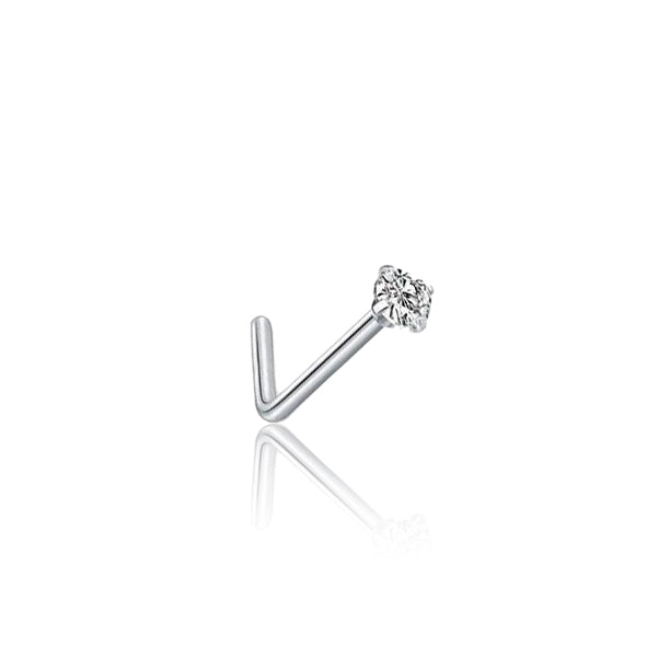 Silver SS Claw Set Solitaire Zircon Nose Stud L-Shape
