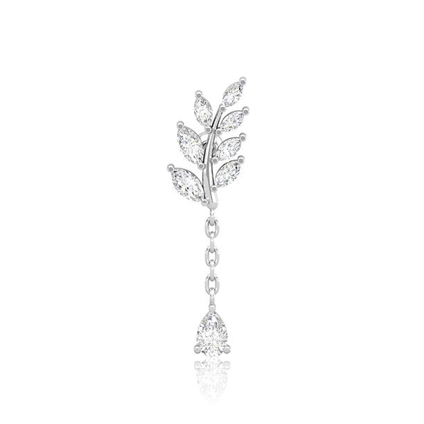 Silver SS Diamante Fern & Solitaire Drop Cartilage Barbell