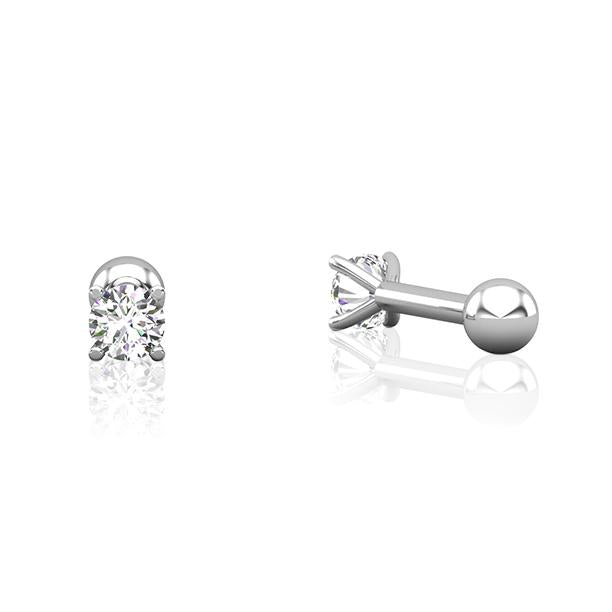 Solitaire Barbell 1.2mm (16g) Silver