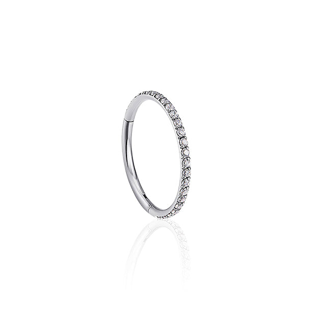 Highly Polished Silver Titanium Diamante Hinged Huggie Ring Wholesale Piercing Jewellery UK