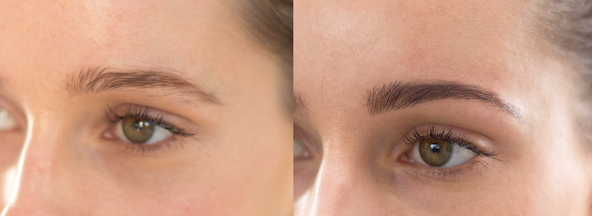 Coconut oil eyebrows before and after