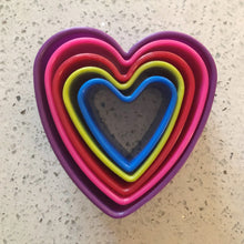Load image into Gallery viewer, NEW Multi Coloured Heart Shaped Cookie Cutters