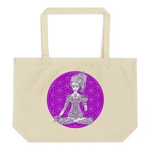 Divine Vibes™ Large Eco Tote Bag Organic Cotton Oyster Color with Goddess making peace sign with left hand and Purple Flower of Life Design by Goddess Swag