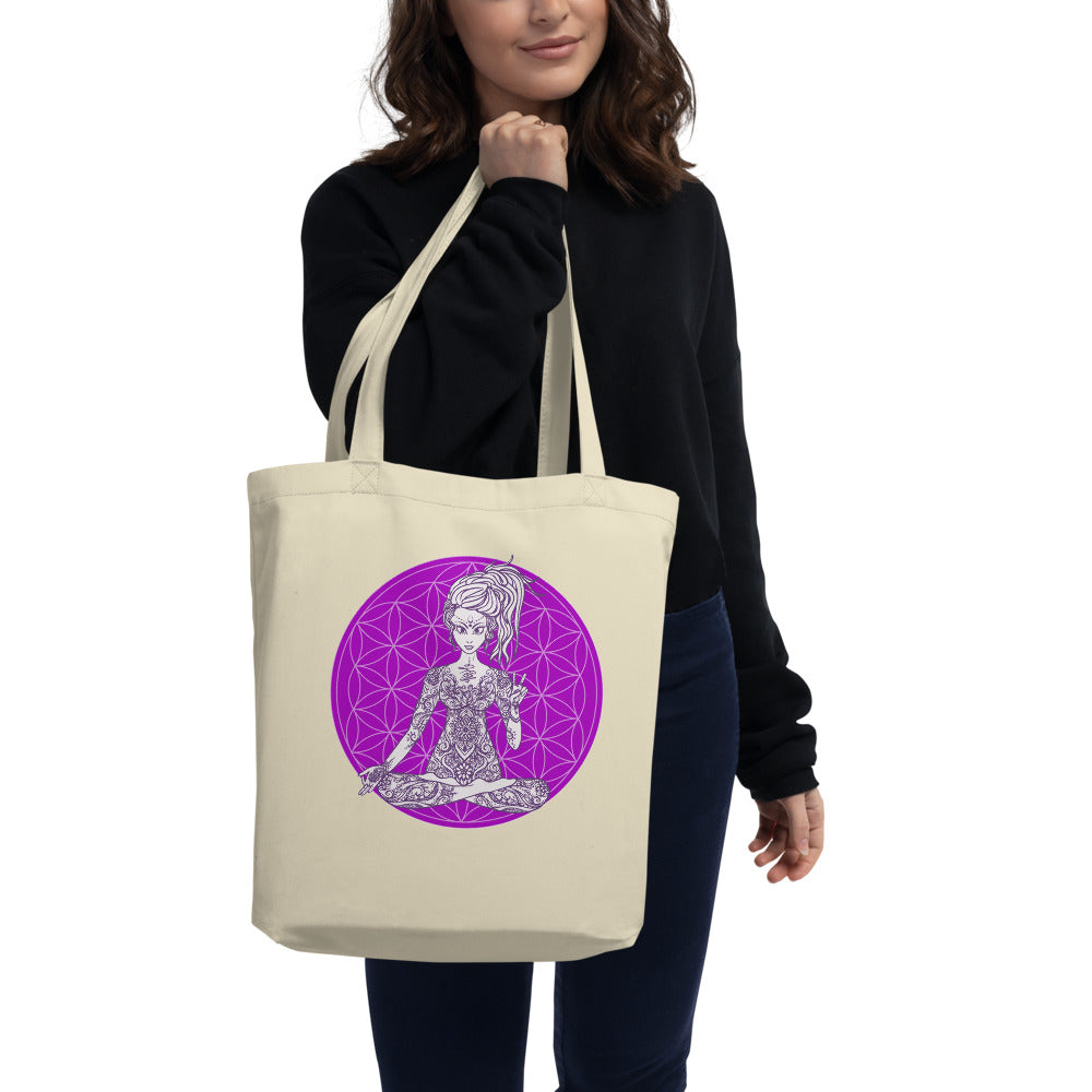 Divine Vibes™ Small Eco Tote Bag Organic Cotton Oyster Color with Goddess making peace sign with left hand and Purple Flower of Life Design by Goddess Swag