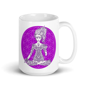Goddess Swag Divine Vibes™ ceramic coffee mug 15oz with goddess and flower of life design peace sign purple