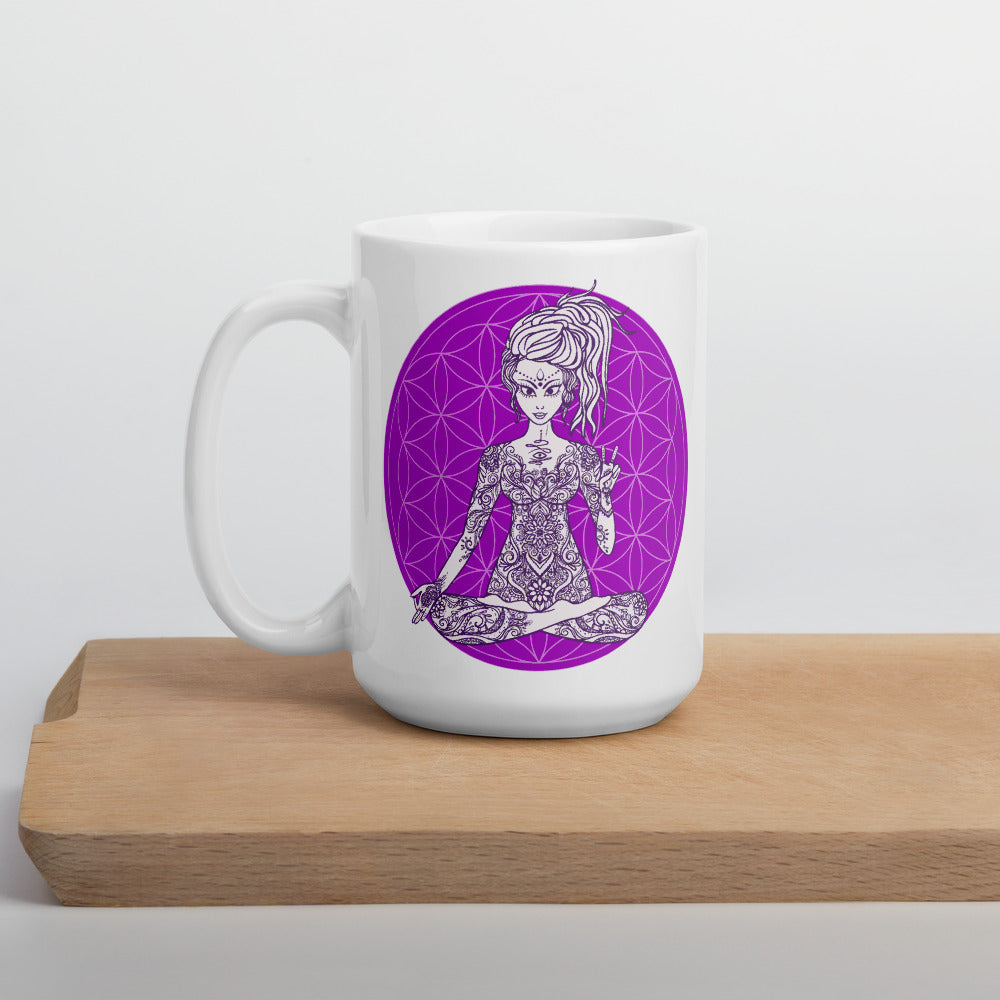 Goddess Swag Divine Vibes™ ceramic coffee mug 15oz with goddess and Goddess Swag™ flower of life design peace sign purple