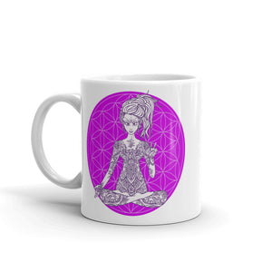 Divine Vibes™ ceramic coffee mug 11oz with goddess making peace sign with right hand and purple flower of life design by goddess swag