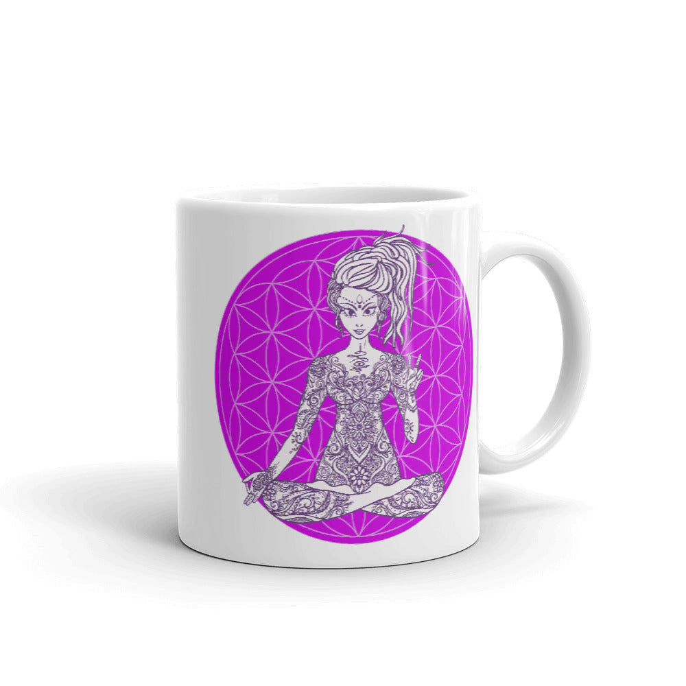Goddess Swag Divine Vibes™ ceramic coffee mug 11oz with goddess making peace sign with right hand and purple flower of life design