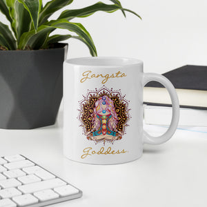 Gangsta Goddess™ ceramic coffee mug 11oz with mandala and chakra design by goddess swag.  Gangsta Goddess is written in gold color.