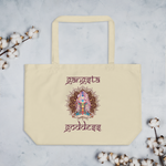 Load image into Gallery viewer, Gangsta Goddess™  in Sanskrit style writing, Large Eco Tote Bag Organic Cotton Oyster Color with Mandala and Chakra Design by Goddess Swag™. Gangsta Goddess is written in deep purple color.