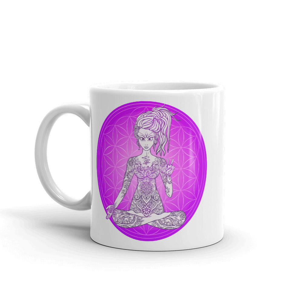 Divine Vibes™ 11oz ceramic coffee mug with goddess and magenta flower of life circle design. Goddess makes peace sign with her right hand. Designed by Goddess Swag.